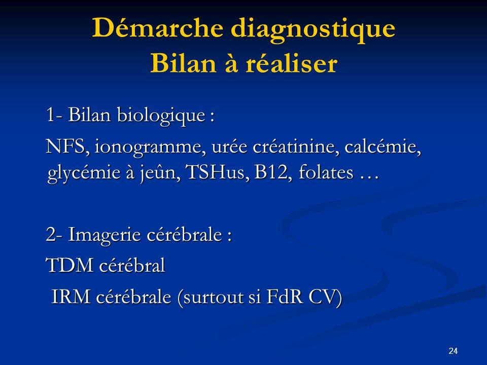 24 Démarche diagnostique Bilan à réaliser 1- Bilan biologique : 1- Bilan biologique : NFS, ionogramme, urée créatinine, calcémie, glycémie à jeûn, TSHus, B12, folates … NFS, ionogramme, urée créatinine, calcémie, glycémie à jeûn, TSHus, B12, folates … 2- Imagerie cérébrale : 2- Imagerie cérébrale : TDM cérébral TDM cérébral IRM cérébrale (surtout si FdR CV) IRM cérébrale (surtout si FdR CV)