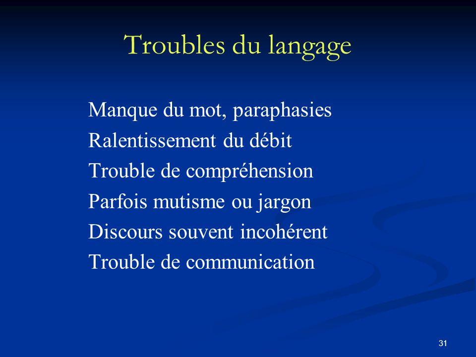 31 Troubles du langage Manque du mot, paraphasies Ralentissement du débit Trouble de compréhension Parfois mutisme ou jargon Discours souvent incohére