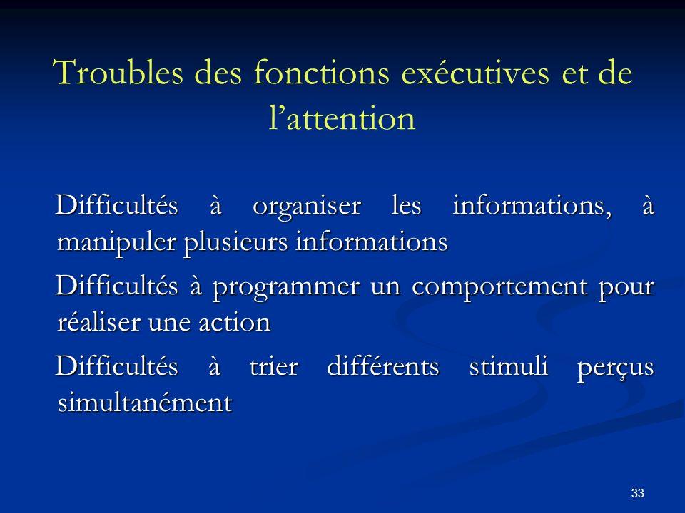 33 Troubles des fonctions exécutives et de lattention Difficultés à organiser les informations, à manipuler plusieurs informations Difficultés à organ