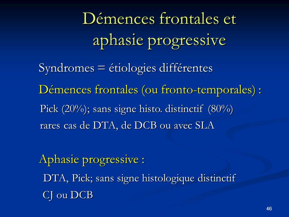 46 Démences frontales et aphasie progressive Syndromes = étiologies différentes Syndromes = étiologies différentes Démences frontales (ou fronto-temporales) : Démences frontales (ou fronto-temporales) : Pick (20%); sans signe histo.