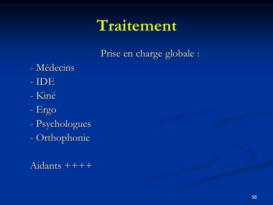 56 Traitement Prise en charge globale : - Médecins - IDE - Kiné - Ergo - Psychologues - Orthophonie Aidants ++++