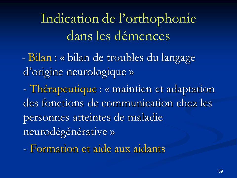 59 Indication de lorthophonie dans les démences - Bilan : « bilan de troubles du langage dorigine neurologique » - Bilan : « bilan de troubles du lang