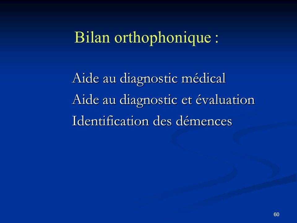 60 Bilan orthophonique : Aide au diagnostic médical Aide au diagnostic médical Aide au diagnostic et évaluation Aide au diagnostic et évaluation Identification des démences Identification des démences