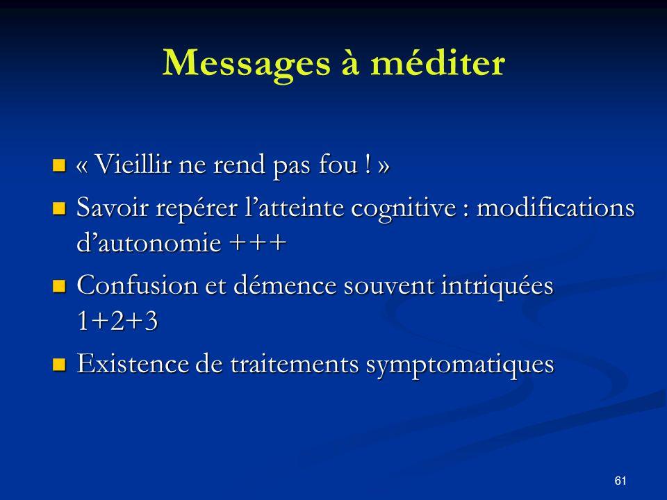 61 Messages à méditer « Vieillir ne rend pas fou ! » « Vieillir ne rend pas fou ! » Savoir repérer latteinte cognitive : modifications dautonomie +++