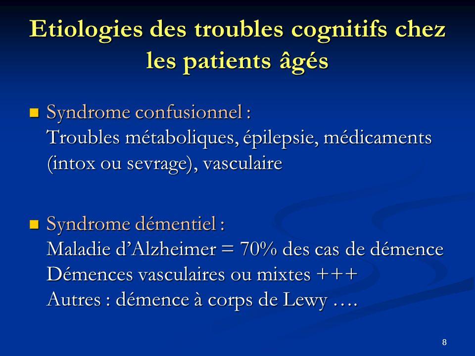 8 Etiologies des troubles cognitifs chez les patients âgés Syndrome confusionnel : Troubles métaboliques, épilepsie, médicaments (intox ou sevrage), vasculaire Syndrome confusionnel : Troubles métaboliques, épilepsie, médicaments (intox ou sevrage), vasculaire Syndrome démentiel : Maladie dAlzheimer = 70% des cas de démence Démences vasculaires ou mixtes +++ Autres : démence à corps de Lewy ….