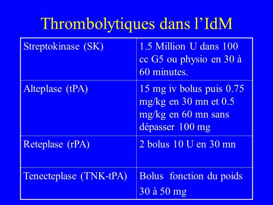 Thrombolytiques dans lIdM Streptokinase (SK)1.5 Million U dans 100 cc G5 ou physio en 30 à 60 minutes. Alteplase (tPA)15 mg iv bolus puis 0.75 mg/kg e