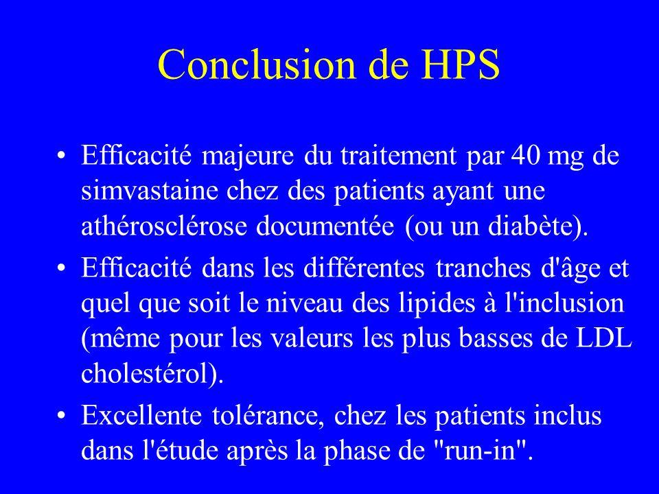 Conclusion de HPS Efficacité majeure du traitement par 40 mg de simvastaine chez des patients ayant une athérosclérose documentée (ou un diabète). Eff