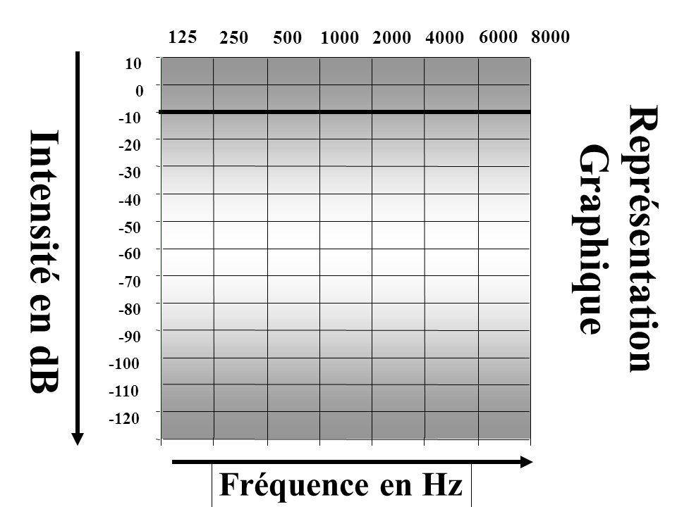 -120 -110 -100 -90 -80 -70 -60 -50 -40 -30 -20 -10 0 10 Intensité en dB Fréquence en Hz Représentation Graphique 250500100020004000 6000 8000125 -120