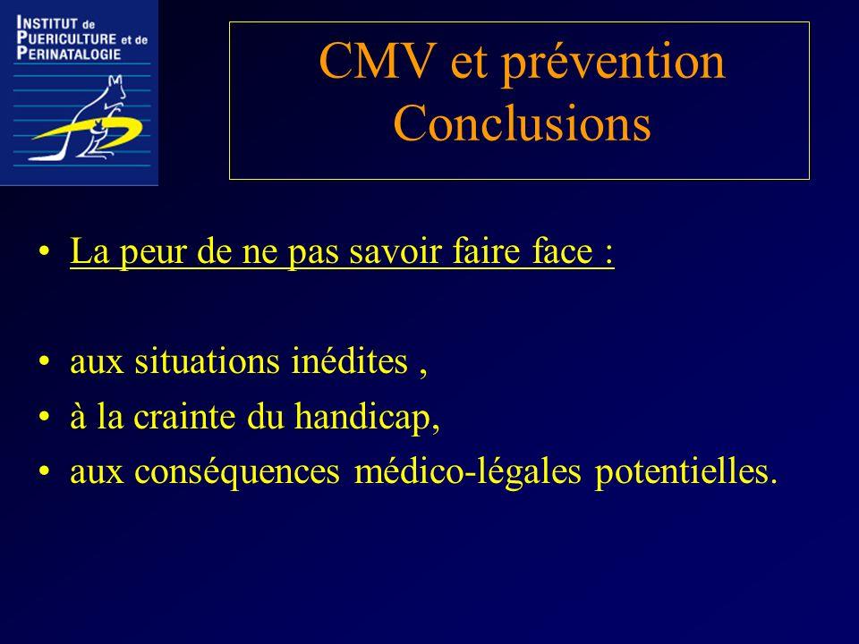 CMV et prévention Conclusions La peur de ne pas savoir faire face : aux situations inédites, à la crainte du handicap, aux conséquences médico-légales