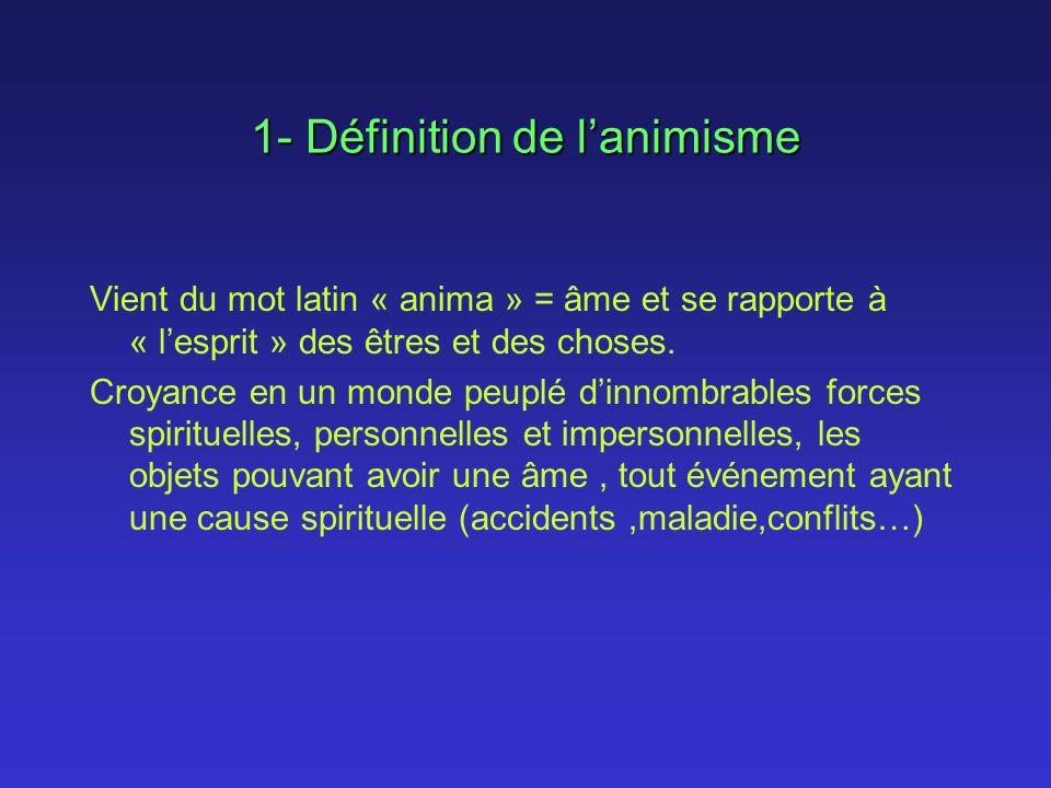 1- Définition de lanimisme Vient du mot latin « anima » = âme et se rapporte à « lesprit » des êtres et des choses. Croyance en un monde peuplé dinnom