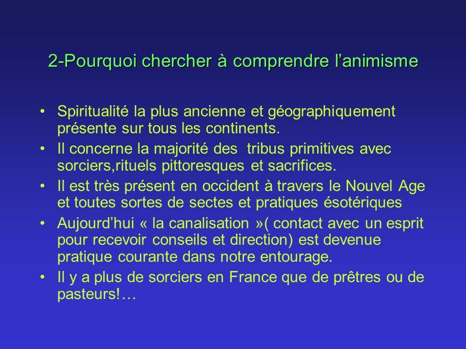 2-Pourquoi chercher à comprendre lanimisme Spiritualité la plus ancienne et géographiquement présente sur tous les continents. Il concerne la majorité