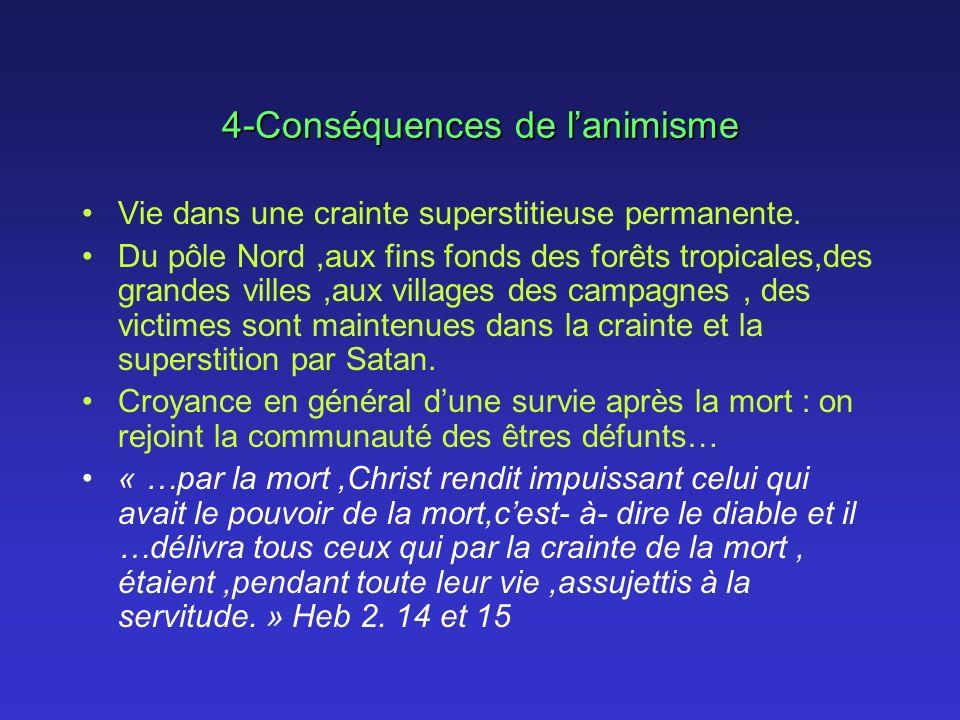 4-Conséquences de lanimisme Vie dans une crainte superstitieuse permanente. Du pôle Nord,aux fins fonds des forêts tropicales,des grandes villes,aux v