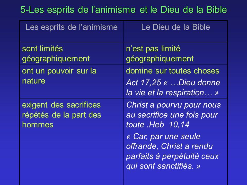 5-Les esprits de lanimisme et le Dieu de la Bible Les esprits de lanimismeLe Dieu de la Bible sont limités géographiquement nest pas limité géographiq