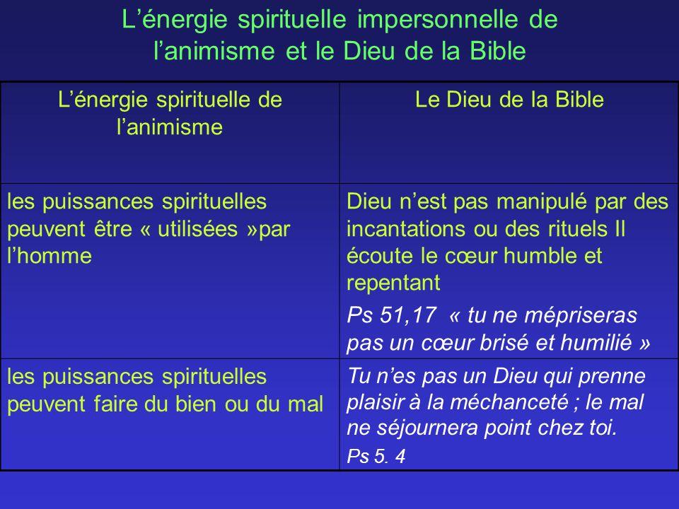 Lénergie spirituelle impersonnelle de lanimisme et le Dieu de la Bible Lénergie spirituelle de lanimisme Le Dieu de la Bible les puissances spirituelles peuvent être « utilisées »par lhomme Dieu nest pas manipulé par des incantations ou des rituels Il écoute le cœur humble et repentant Ps 51,17 « tu ne mépriseras pas un cœur brisé et humilié » les puissances spirituelles peuvent faire du bien ou du mal Tu nes pas un Dieu qui prenne plaisir à la méchanceté ; le mal ne séjournera point chez toi.