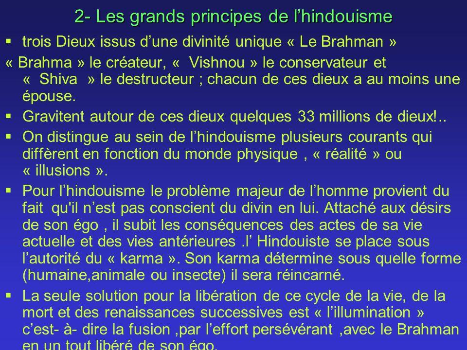 2- Les grands principes de lhindouisme trois Dieux issus dune divinité unique « Le Brahman » « Brahma » le créateur, « Vishnou » le conservateur et « Shiva » le destructeur ; chacun de ces dieux a au moins une épouse.