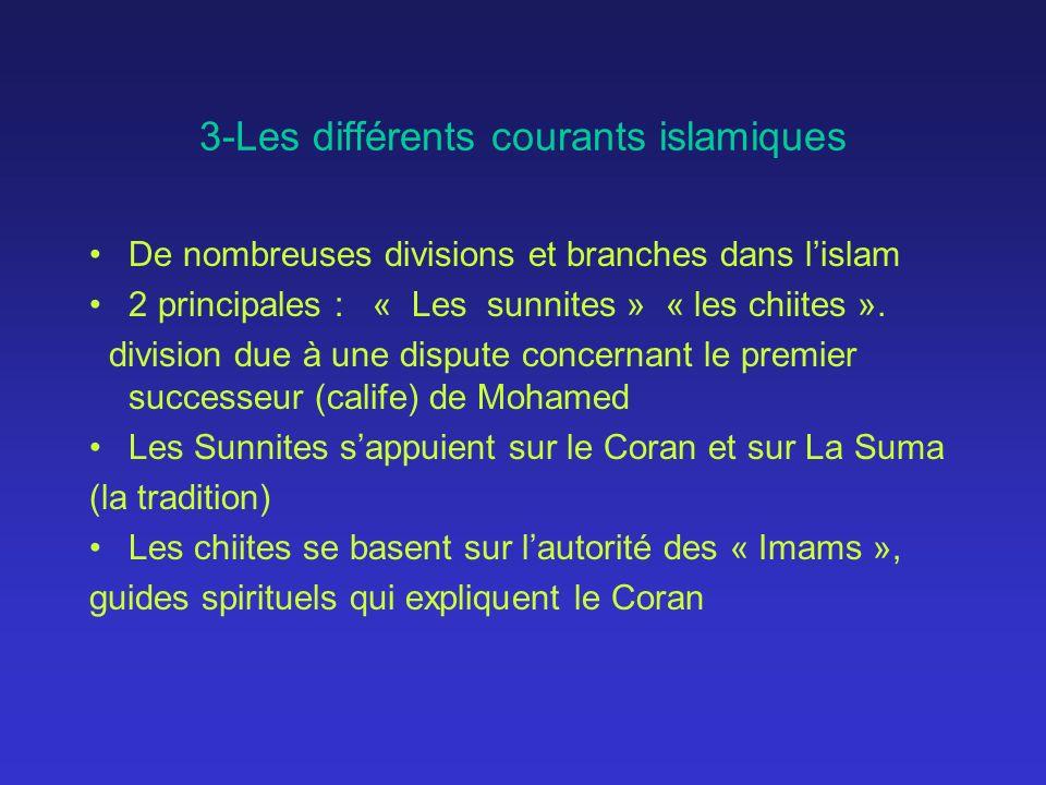3-Les différents courants islamiques De nombreuses divisions et branches dans lislam 2 principales : « Les sunnites » « les chiites ». division due à
