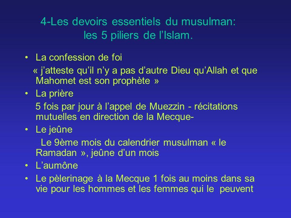 4-Les devoirs essentiels du musulman: les 5 piliers de lIslam. La confession de foi « jatteste quil ny a pas dautre Dieu quAllah et que Mahomet est so