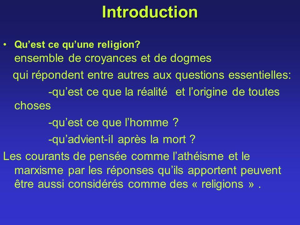 Introduction Quest ce quune religion? ensemble de croyances et de dogmes qui répondent entre autres aux questions essentielles: -quest ce que la réali
