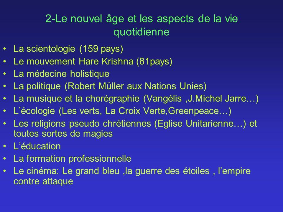 2-Le nouvel âge et les aspects de la vie quotidienne La scientologie (159 pays) Le mouvement Hare Krishna (81pays) La médecine holistique La politique