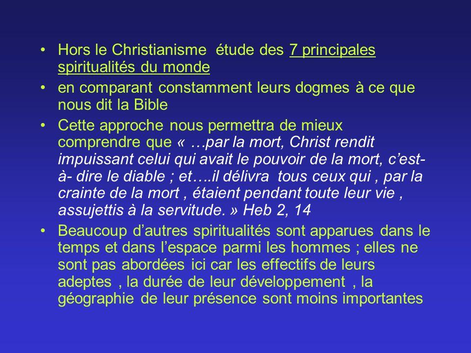 Hors le Christianisme étude des 7 principales spiritualités du monde en comparant constamment leurs dogmes à ce que nous dit la Bible Cette approche n