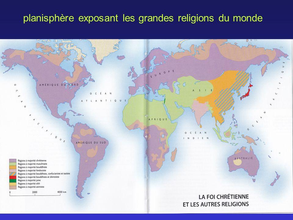 planisphère exposant les grandes religions du monde