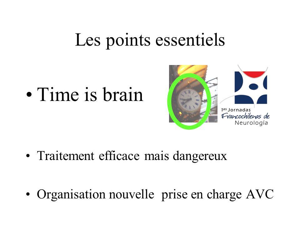 Les points essentiels Time is brain Traitement efficace mais dangereux Organisation nouvelle prise en charge AVC