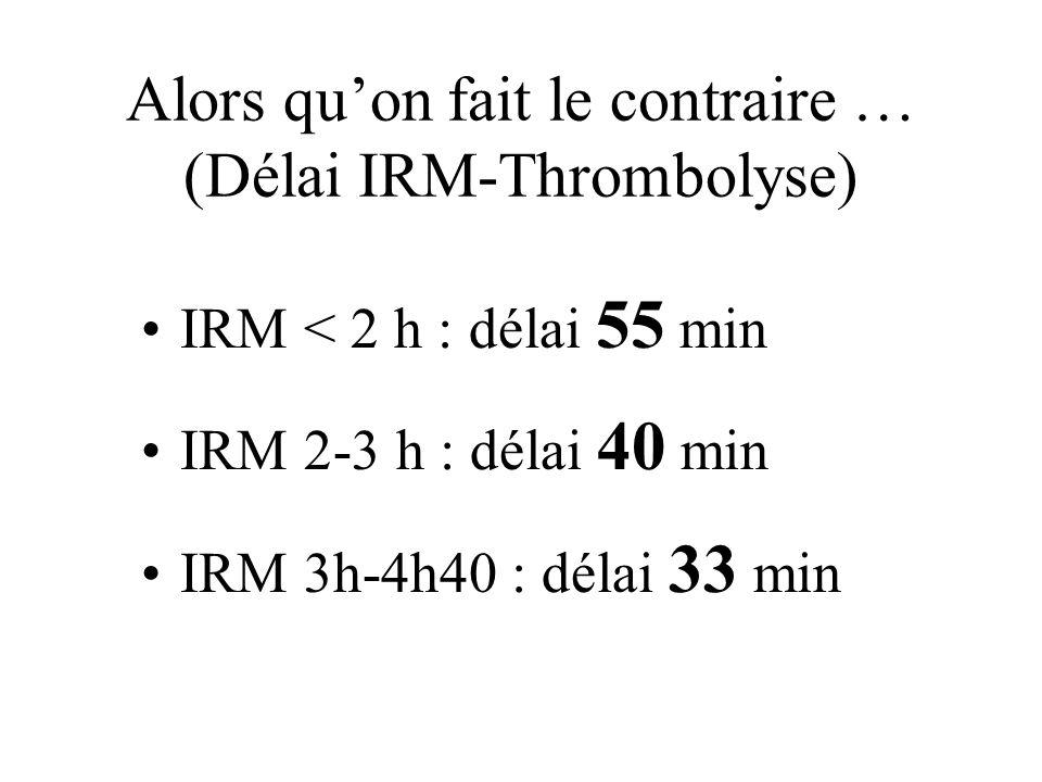 Alors quon fait le contraire … (Délai IRM-Thrombolyse) IRM < 2 h : délai 55 min IRM 2-3 h : délai 40 min IRM 3h-4h40 : délai 33 min