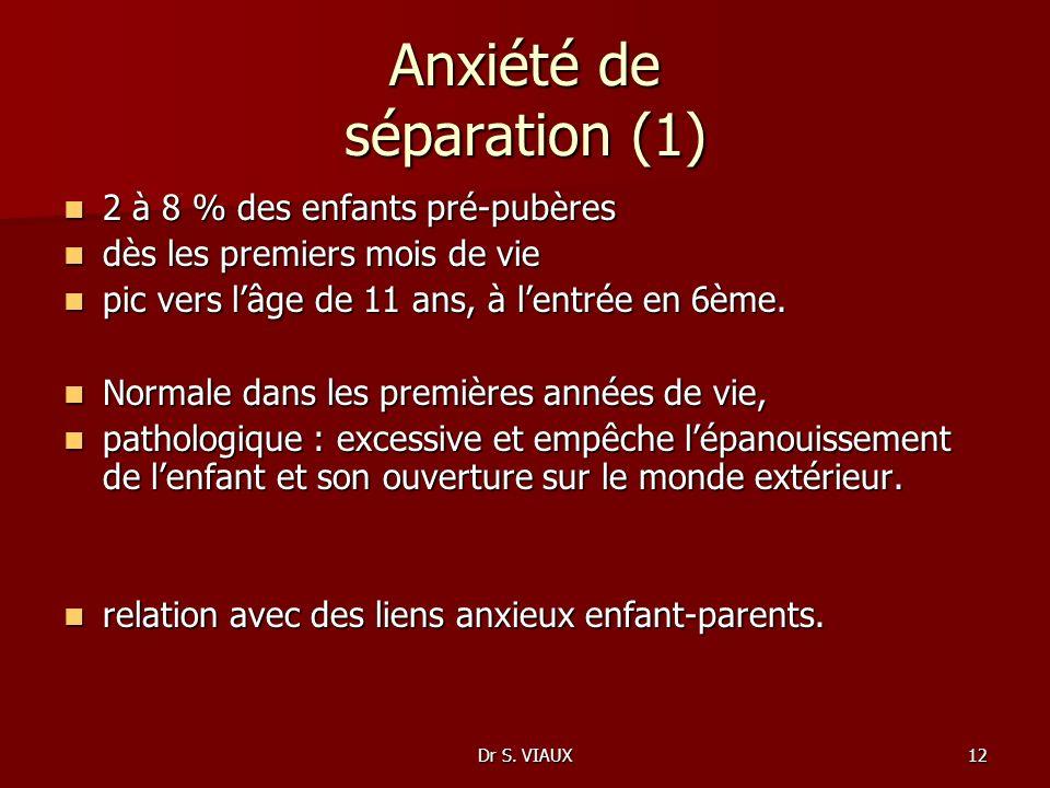 Dr S. VIAUX12 Anxiété de séparation (1) 2 à 8 % des enfants pré-pubères 2 à 8 % des enfants pré-pubères dès les premiers mois de vie dès les premiers