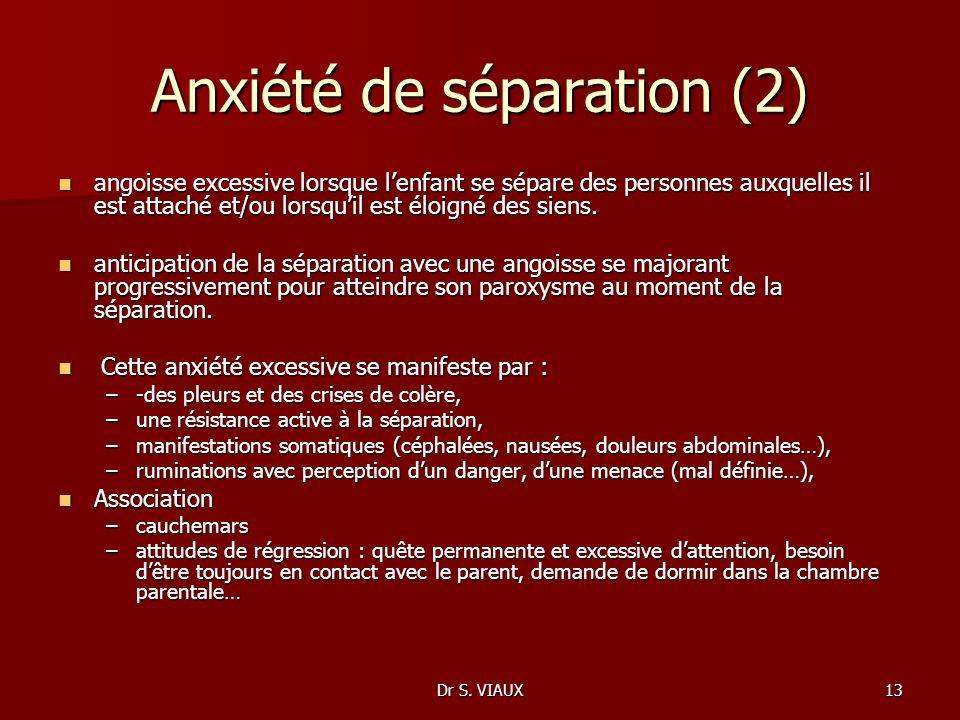 Dr S. VIAUX13 Anxiété de séparation (2) angoisse excessive lorsque lenfant se sépare des personnes auxquelles il est attaché et/ou lorsquil est éloign