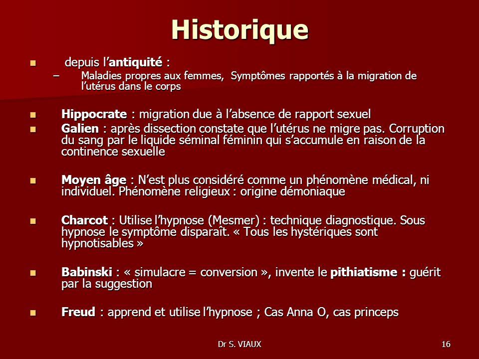 Dr S. VIAUX16 Historique depuis lantiquité : depuis lantiquité : –Maladies propres aux femmes, Symptômes rapportés à la migration de lutérus dans le c