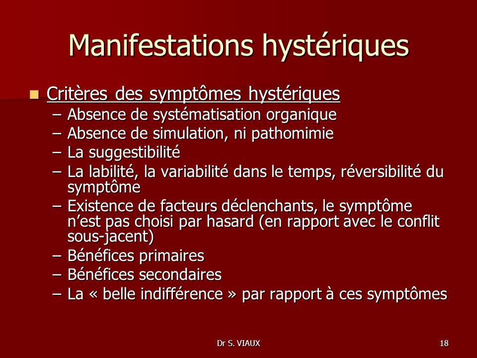 Dr S. VIAUX18 Manifestations hystériques Critères des symptômes hystériques Critères des symptômes hystériques –Absence de systématisation organique –