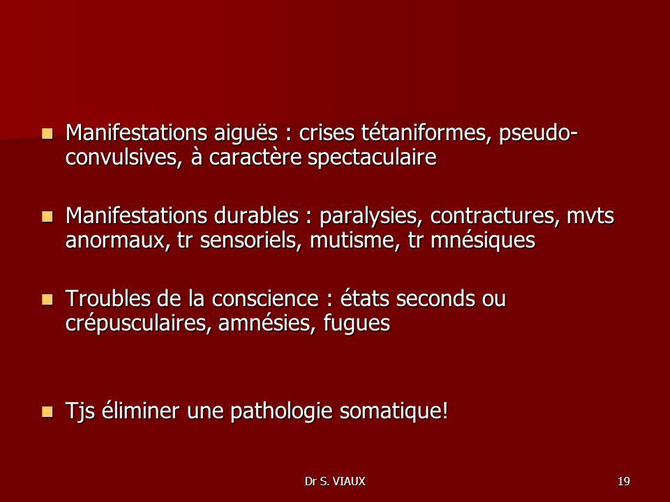 Dr S. VIAUX19 Manifestations aiguës : crises tétaniformes, pseudo- convulsives, à caractère spectaculaire Manifestations aiguës : crises tétaniformes,