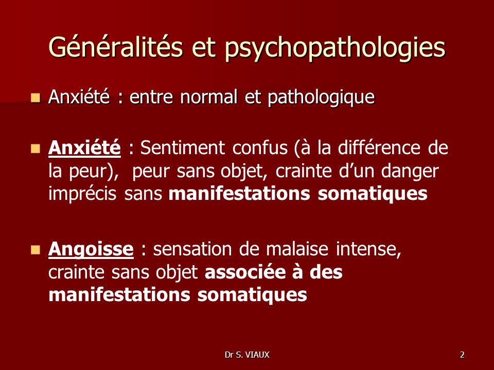 Dr S. VIAUX2 Généralités et psychopathologies Anxiété : entre normal et pathologique Anxiété : entre normal et pathologique Anxiété : Sentiment confus