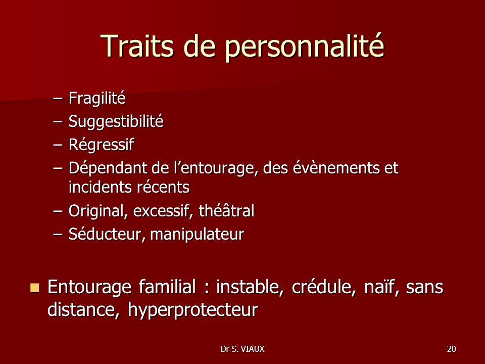 Dr S. VIAUX20 Traits de personnalité –Fragilité –Suggestibilité –Régressif –Dépendant de lentourage, des évènements et incidents récents –Original, ex