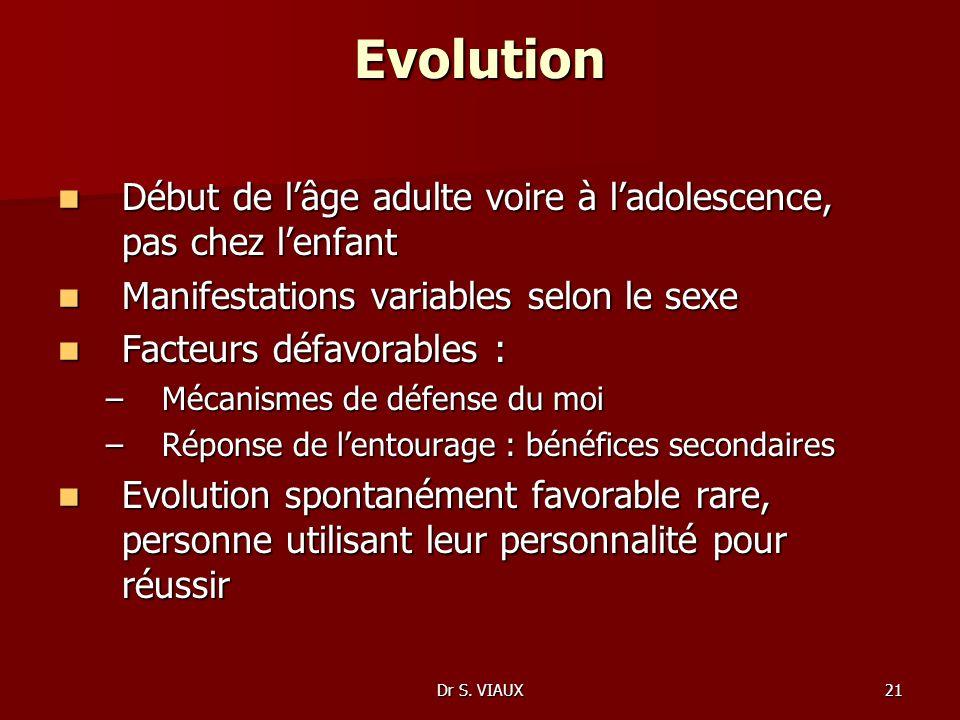 Dr S. VIAUX21 Evolution Début de lâge adulte voire à ladolescence, pas chez lenfant Début de lâge adulte voire à ladolescence, pas chez lenfant Manife