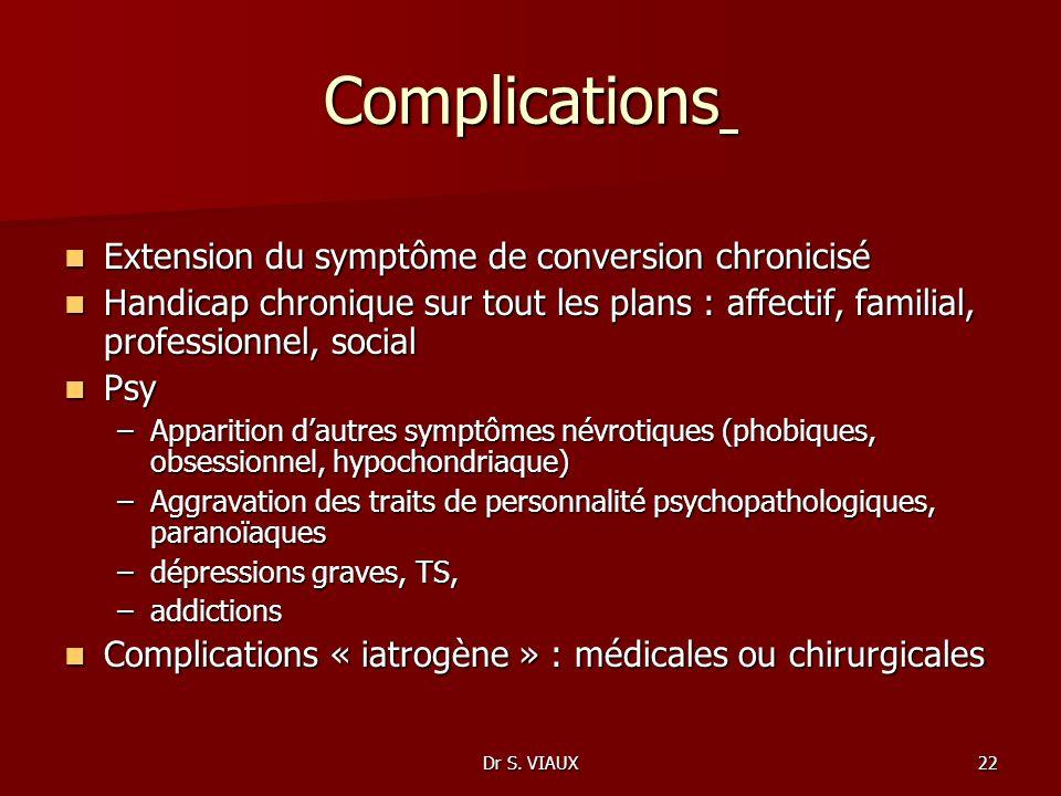 Dr S. VIAUX22 Complications Complications Extension du symptôme de conversion chronicisé Extension du symptôme de conversion chronicisé Handicap chron