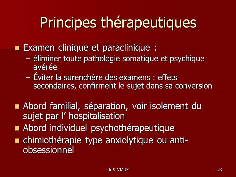 Dr S. VIAUX23 Principes thérapeutiques Examen clinique et paraclinique : Examen clinique et paraclinique : –éliminer toute pathologie somatique et psy