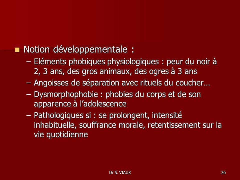 Dr S. VIAUX26 Notion développementale : Notion développementale : –Eléments phobiques physiologiques : peur du noir à 2, 3 ans, des gros animaux, des