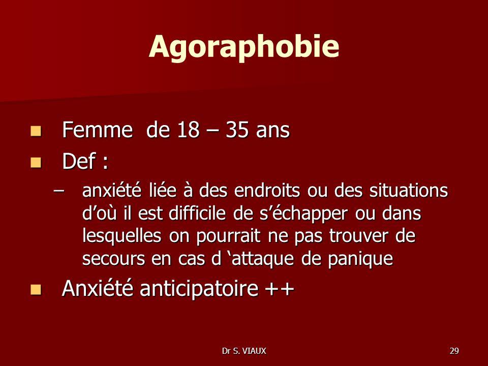 Dr S. VIAUX29 Agoraphobie Femme de 18 – 35 ans Femme de 18 – 35 ans Def : Def : –anxiété liée à des endroits ou des situations doù il est difficile de