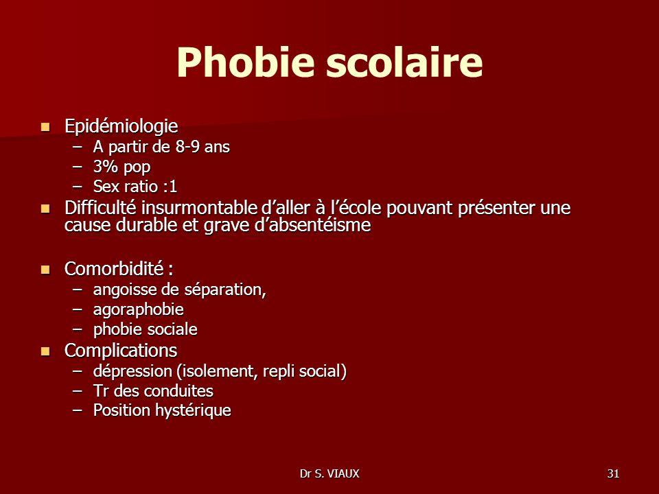Dr S. VIAUX31 Phobie scolaire Epidémiologie Epidémiologie –A partir de 8-9 ans –3% pop –Sex ratio :1 Difficulté insurmontable daller à lécole pouvant