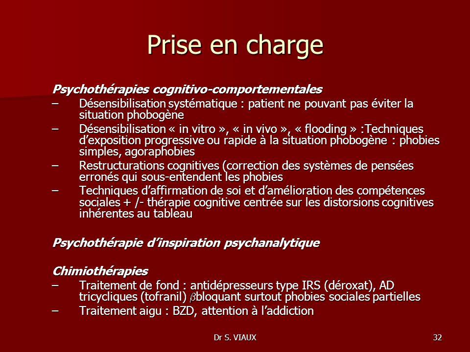 Dr S. VIAUX32 Prise en charge Psychothérapies cognitivo-comportementales –Désensibilisation systématique : patient ne pouvant pas éviter la situation