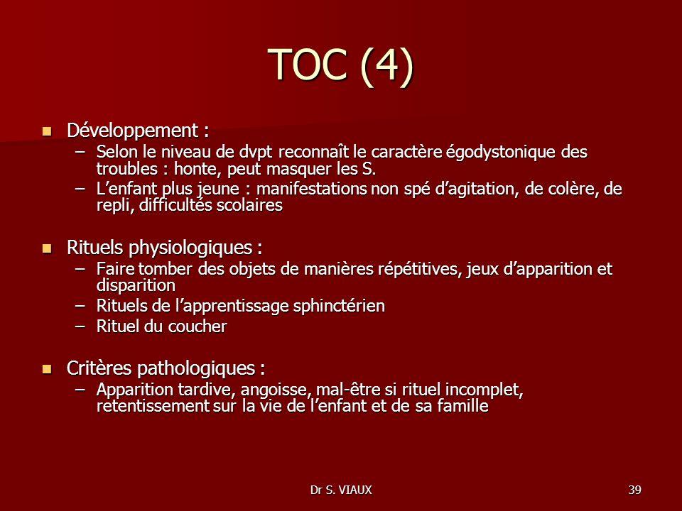 Dr S. VIAUX39 TOC (4) Développement : Développement : –Selon le niveau de dvpt reconnaît le caractère égodystonique des troubles : honte, peut masquer