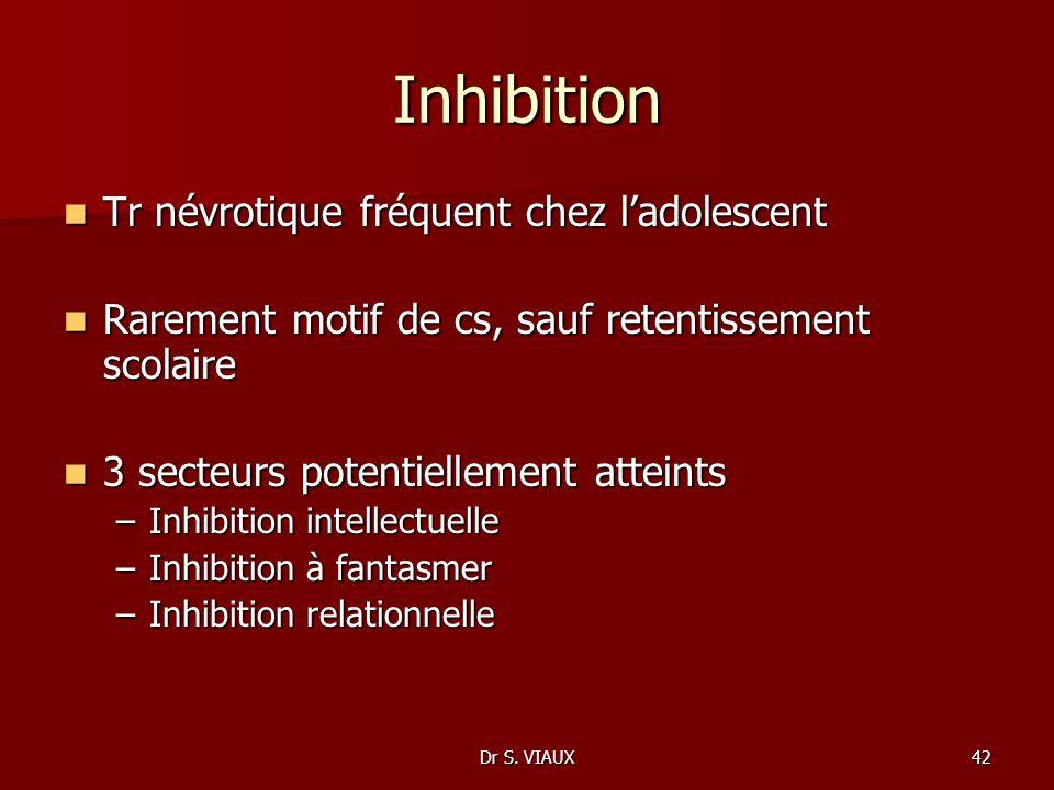 Dr S. VIAUX42 Inhibition Tr névrotique fréquent chez ladolescent Tr névrotique fréquent chez ladolescent Rarement motif de cs, sauf retentissement sco