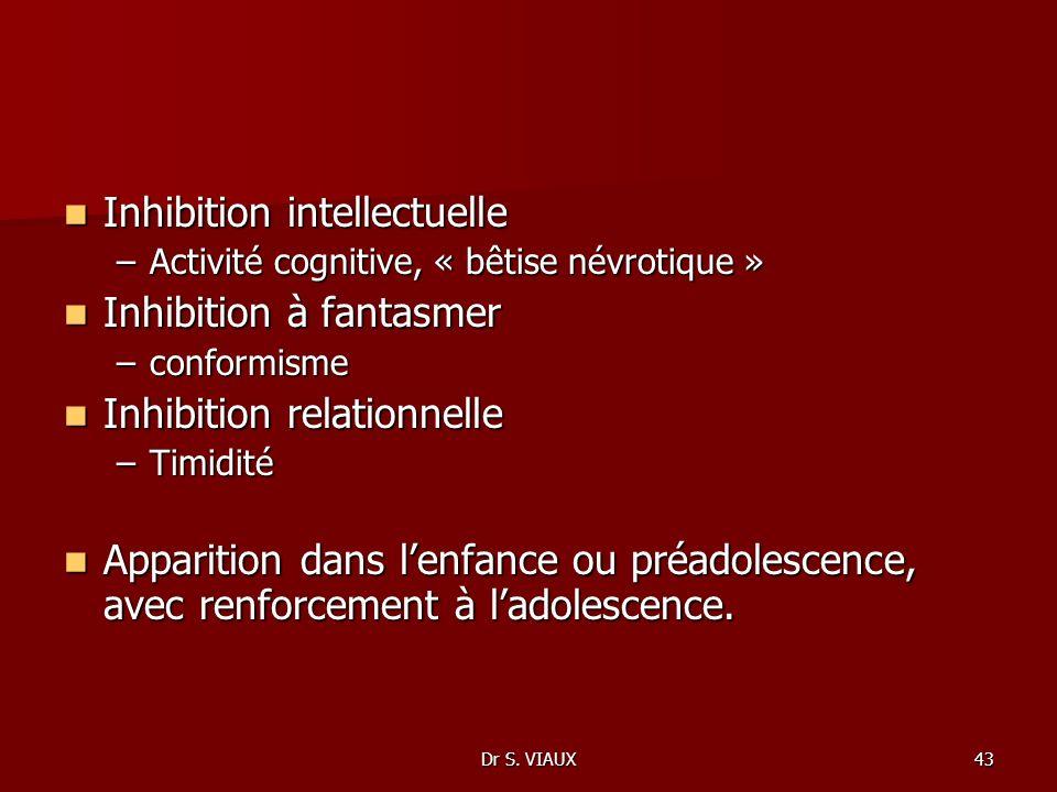 Dr S. VIAUX43 Inhibition intellectuelle Inhibition intellectuelle –Activité cognitive, « bêtise névrotique » Inhibition à fantasmer Inhibition à fanta