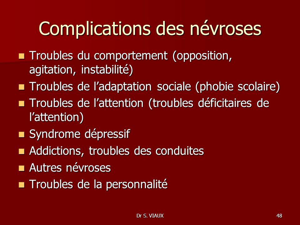 Dr S. VIAUX48 Complications des névroses Troubles du comportement (opposition, agitation, instabilité) Troubles du comportement (opposition, agitation