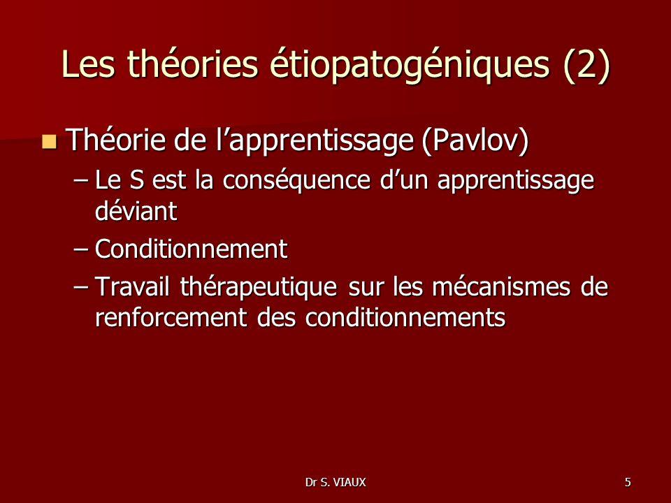Dr S. VIAUX5 Les théories étiopatogéniques (2) Théorie de lapprentissage (Pavlov) Théorie de lapprentissage (Pavlov) –Le S est la conséquence dun appr