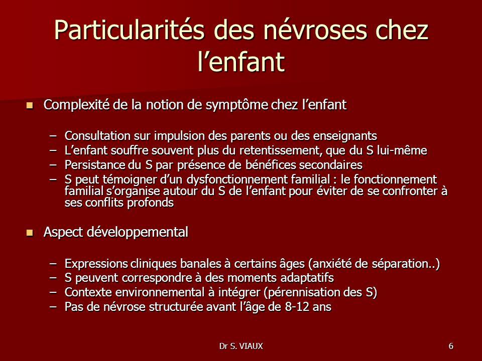 Dr S. VIAUX6 Particularités des névroses chez lenfant Complexité de la notion de symptôme chez lenfant Complexité de la notion de symptôme chez lenfan