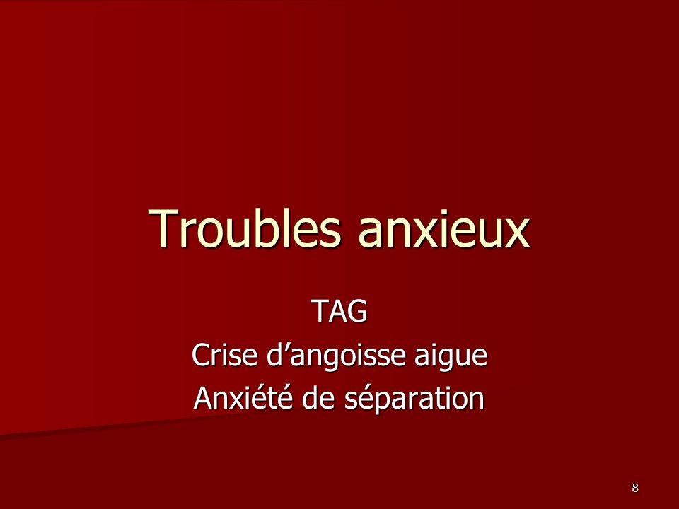 8 Troubles anxieux TAG Crise dangoisse aigue Anxiété de séparation
