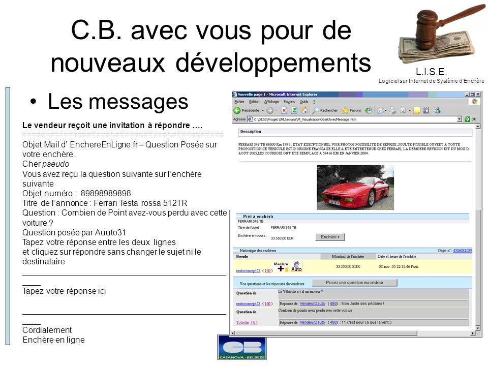L.I.S.E. Logiciel sur Internet de Système dEnchère C.B. avec vous pour de nouveaux développements Les messages Le vendeur reçoit une invitation à répo