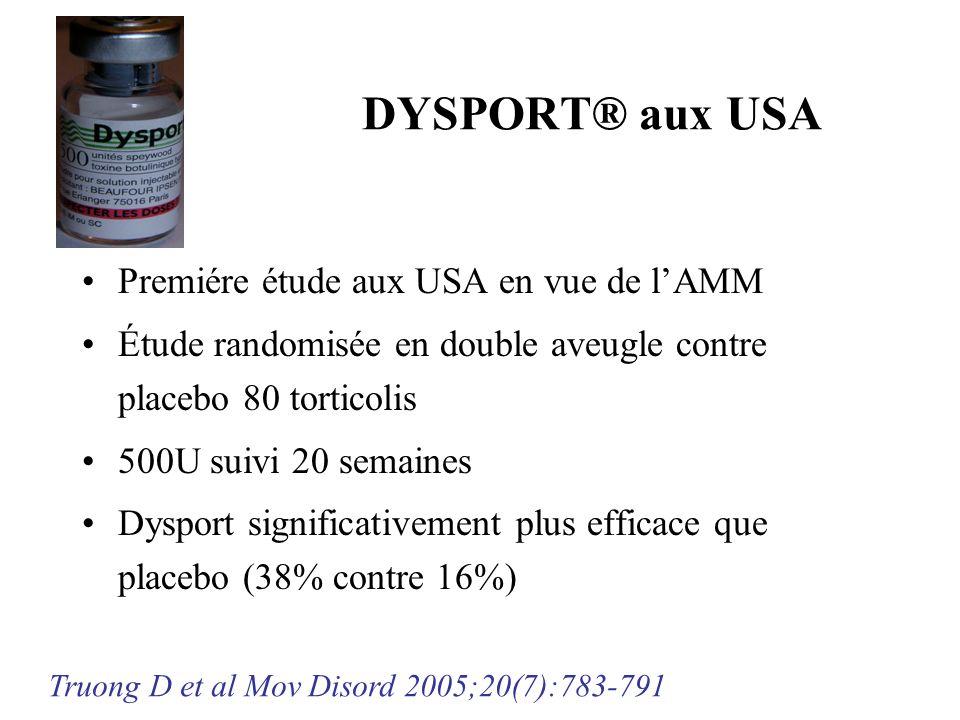 DYSPORT® aux USA Premiére étude aux USA en vue de lAMM Étude randomisée en double aveugle contre placebo 80 torticolis 500U suivi 20 semaines Dysport